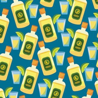 Tequila mit soße- und zitronenlebensmittelhintergrund