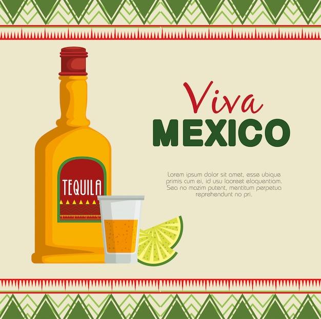 Tequila mit traditioneller mexiko-kultur der zitrone