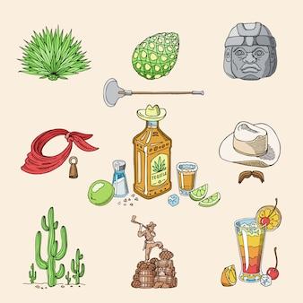 Tequila schoss mexikanischen alkohol im flaschengetränk mit kalk und salz in taqueria in mexiko illustrationssatz des tropischen getränks und des kaktus lokalisiert auf hintergrund