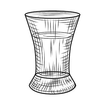 Tequila-schuss isoliert auf weißem hintergrund. volles schnapsglas alkohol. vintage-gravierter stil. vektor-illustration