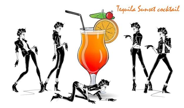 Tequila-sonnenuntergang-cocktail. modemädchen in der artskizze mit cocktail. vektorillustration