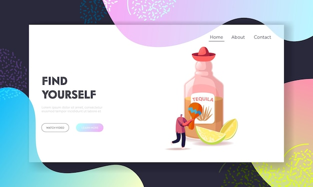 Tequila traditional mexican drink landing page vorlage.