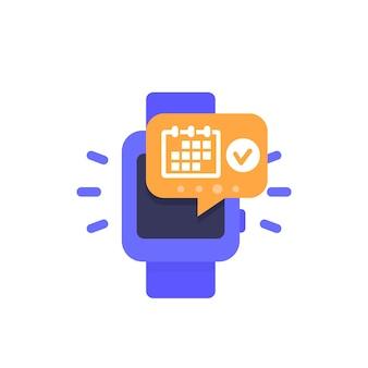Termin, veranstaltungsplan, benachrichtigung im smartwatch-symbol