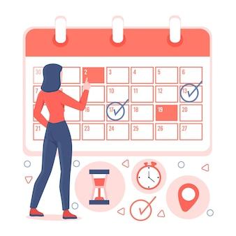 Terminbuchung mit kalender und frau