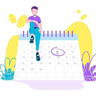 Terminbuchung mit kalender und mann