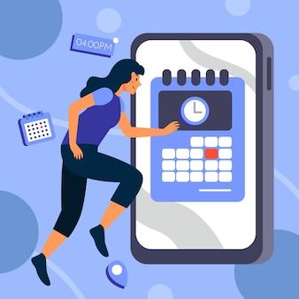 Terminbuchung mit smartphone und laufender frau