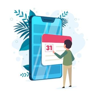 Terminbuchung mit smartphone und mann