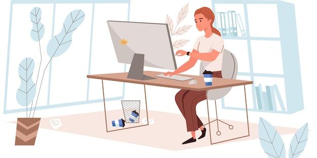 Terminkonzept im flachen design. frau schaut auf die uhr, während sie am computer im büro arbeitet. zeitmanagement, organisation des workflows, termingerechte ausführung von aufgaben, people scene. vektor-illustration