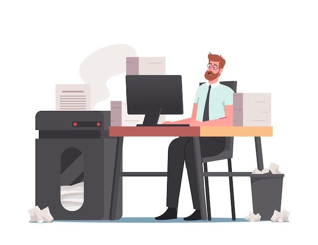 Terminkonzept. office-mann mit riesigem haufen von dokumenten und papiermüll auf dem schreibtisch. mitarbeiterarbeit an einem sehr arbeitsreichen tag, buchhaltungsbürokratie, managerberuf. cartoon-menschen-vektor-illustration