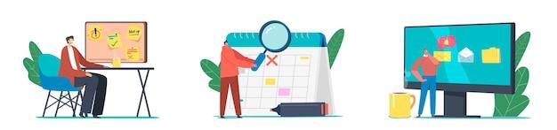 Terminplanung, planung, inspiration und kreatives prozesskonzept. winzige geschäftsfiguren in einer riesigen checkliste für kalender und computer. leute machen sich notizen auf memory board. cartoon-vektor-illustration