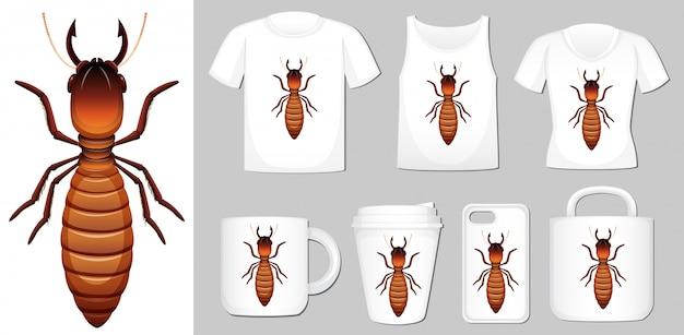 Termite auf verschiedenen produktvorlagen