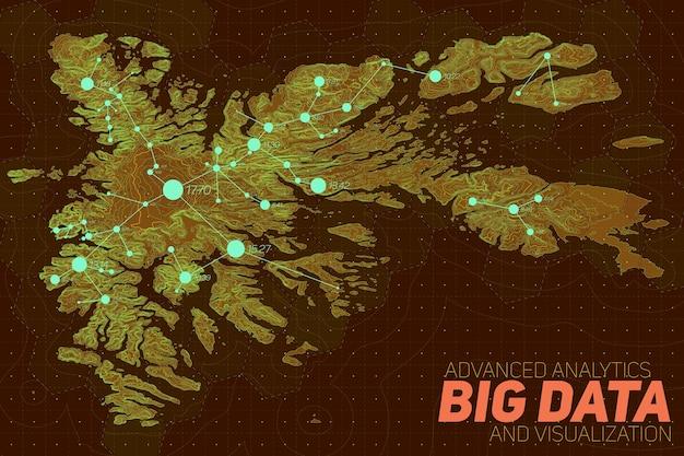 Terrain big data visualisierung. futuristische karte infografik. komplexe grafische visualisierung topografischer daten. abstrakte daten im höhengraphen. buntes geografisches datenbild.