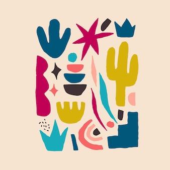 Terrakotta-farbdruck abstrakte moderne malerei mode skandinavischen stil. abstraktionsplakat zeitgenössischer minimalismus