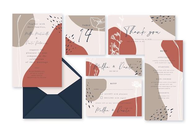 Terrakottaschablonen-hochzeitsbriefpapier