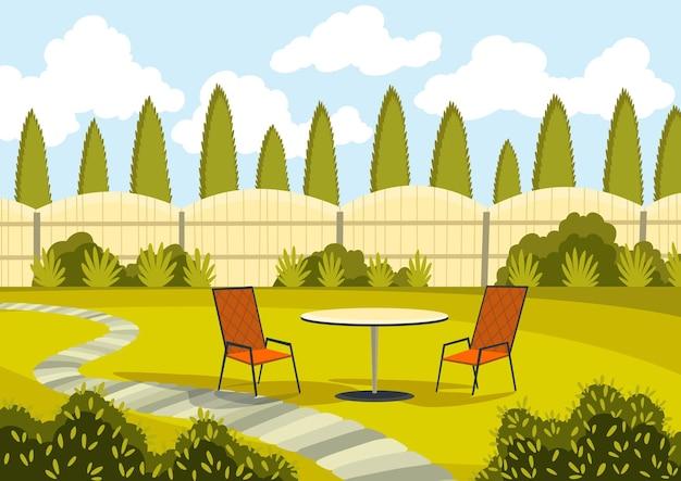 Terrasse mit cartoon-tisch und stühlen. sonniger hofbereich mit grünem gras. cartoon-hinterhof im freien.