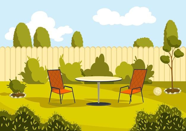 Terrasse mit cartoon-tisch und stühlen. sonniger hofbereich mit grünem gras