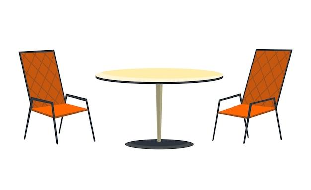Terrassenbereich. café und gartenmöbel tisch und stühle auf einem weißen hintergrund. treffpunkt im sommer im freien. kaffeehaus oder restaurant offener bereich.