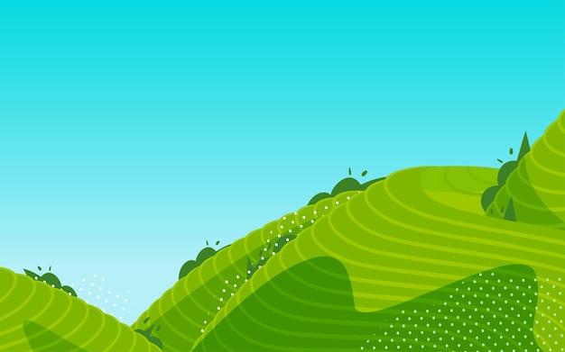 Terrassenfelder landschaft ländliche pastorale illustration ackerland teegarten erntesaison poster