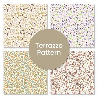 Terrazzo nahtloses muster mit abstrakten formen.