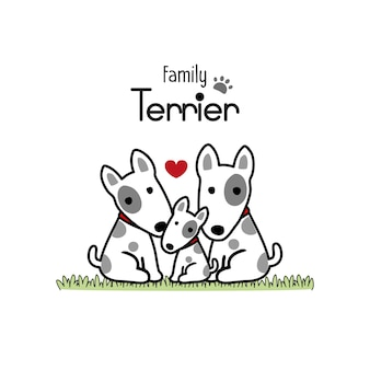 Terrier-hundefamilien-vater-mutter und neugeborenes baby.