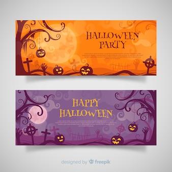 Terrirfic halloween-banner mit flachem design