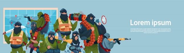Terrorismus bewaffneter terrorist schwarze maske halten waffe maschinengewehr planung weltangriff