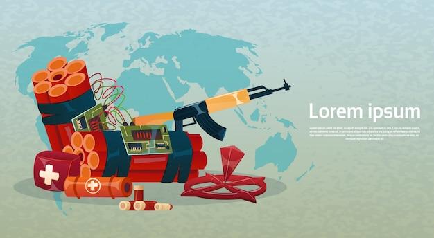 Terrorismus-welt-angriffswaffenbomben über der weltkarte