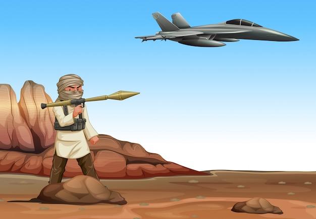 Terrorist, der auf militärflugzeug schießt