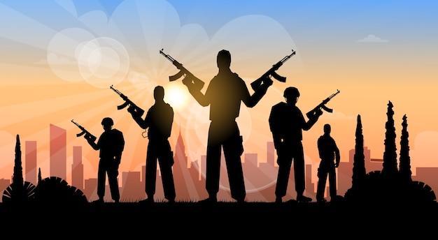 Terroristengruppe über stadtansicht-fahne