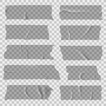 Tesafilm. transparente klebebänder, klebrige teile. isoliertes set