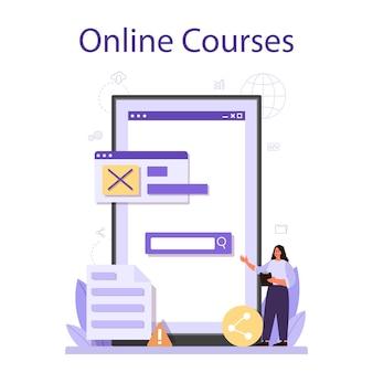 Testen des software-onlinedienstes oder der plattform. testprozess für anwendungs- oder website-code. it-spezialist auf der suche nach fehlern. online kurs. vektorillustration
