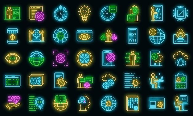 Testen von softwaresymbolen eingestellt. umrisse von testsoftware-vektorsymbolen neonfarbe auf schwarz