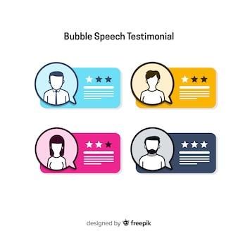 Testimonial design mit sprechblasen