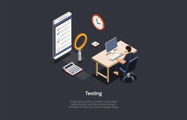 Testing concept design cartoon 3d-stil isometrische vektor-illustration mit text-programm oder app
