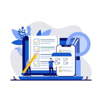 Testkonzept mit charakter. personen, die auf die quiz-checkliste und die zusammenfassung des erfolgsergebnisses antworten. online-prüfung, fragebogenformular, online-bildung, umfrage-metapher.