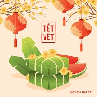 Têt vietnamesisches neujahr im flachen design