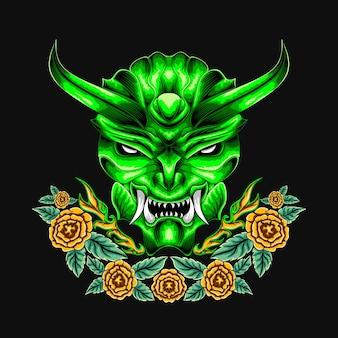 Teufel dämon maskottchen kopf illustration vektor