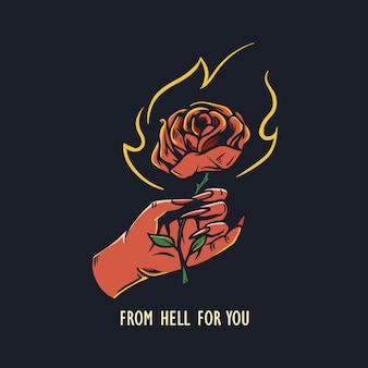 Teufel, der rosenhand gezeichnete illustration hält