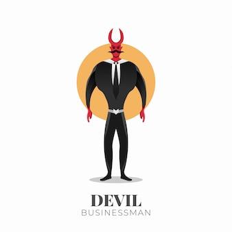 Teufel geschäftsmann charakter mit hörnern. halbbulle geschäftsmann