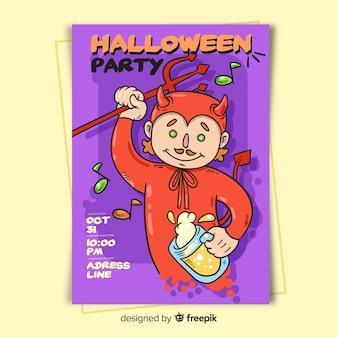 Teufel in der roten halloween-partyplakatschablone