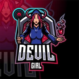 Teufel mädchen esport maskottchen logo design