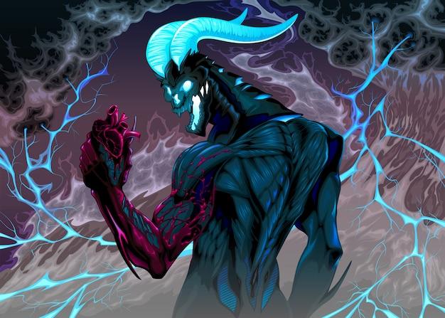 Teufel mit blutendem herzen in der hand