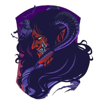 Teufel mit krähenmaskottchen-logo