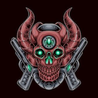Teufel schädel schütze roboter vektor-illustration