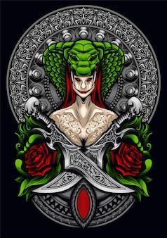 Teufel schlange mädchen illustration