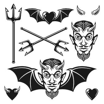Teufel set aus schwarzen objekten für benutzerdefinierte embleme isoliert auf weiß