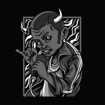 Teufel tod schwarz-weiß-illustration