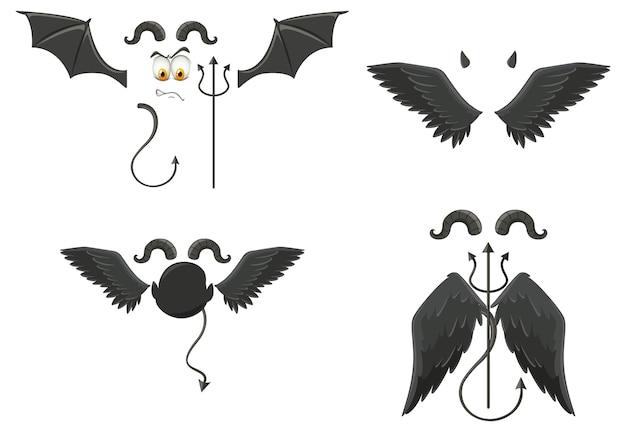 Teufel und engel designelemente