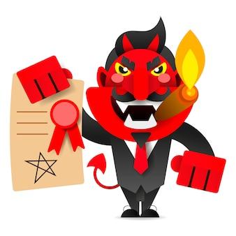Teufel zeigt den vertrag zur unterschrift