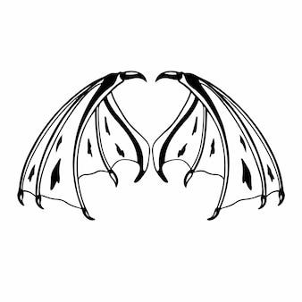 Teufelsflügel logo tattoo design schablone vektor illustration